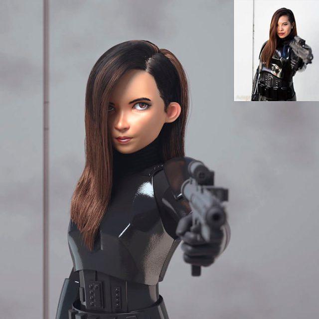 mujer con arma convertida en personaje de Pixar