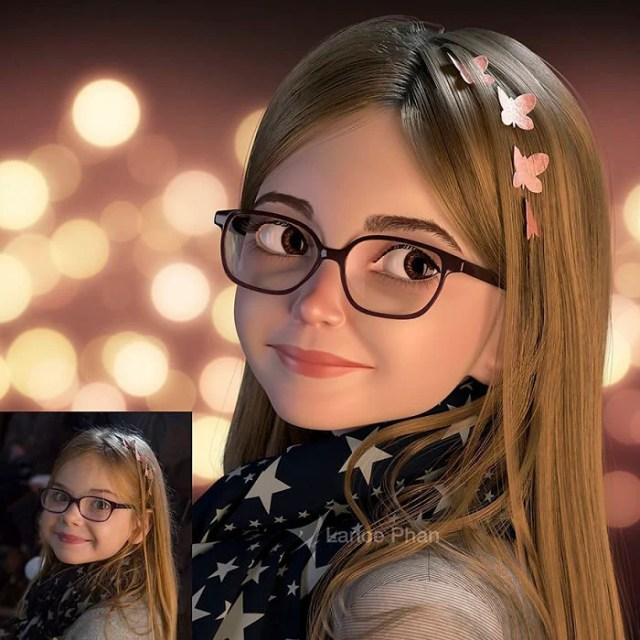 niña con gafas convertida en personaje de Pixar