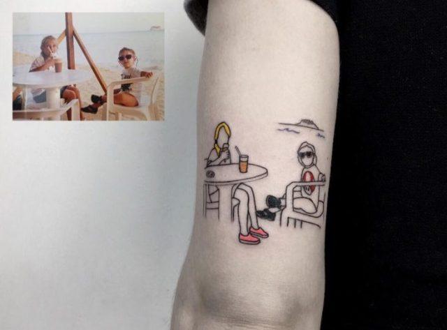 Tatuaje fotografía niñez - en la playa