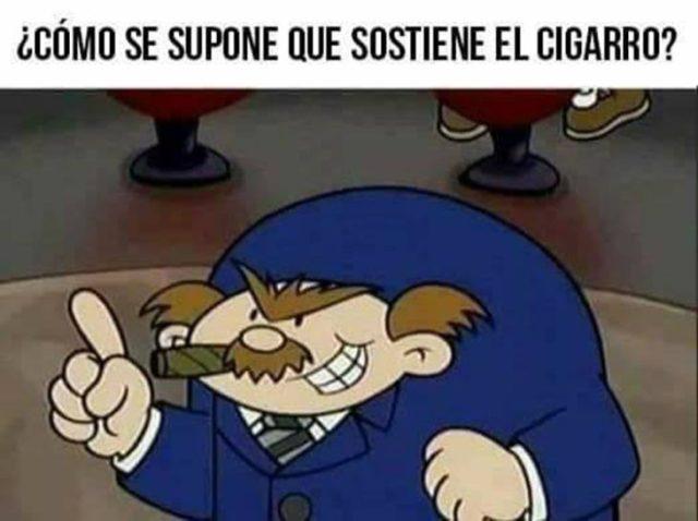 detiene el cigarrillo en el aire