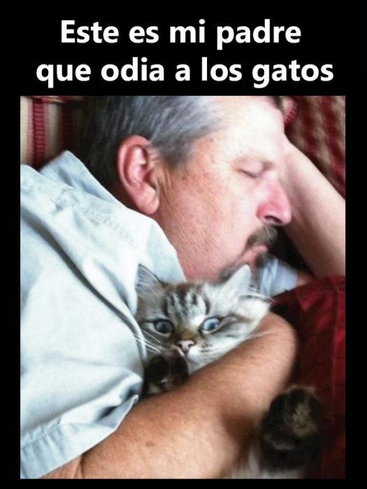 Hombre abrazando gatito
