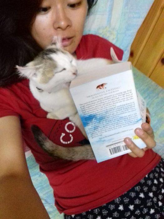 gato comiéndose su libro
