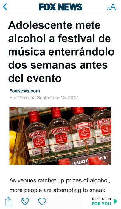 metió alcohol a concierto