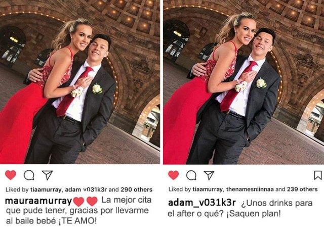 la misma fotografía compartida por ambos