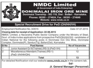 NMDC Recruitment 2015 for Jr Assistant and Attendant Trainee Posts