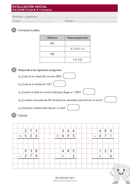 Evaluacion Inicial 3 º De Primaria Matematicas