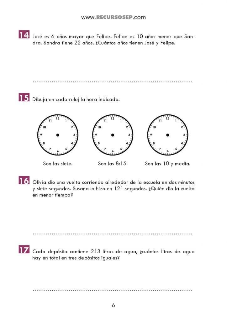Cuadernillo 50 Problemas Para Segundo Ciclo De Primaria