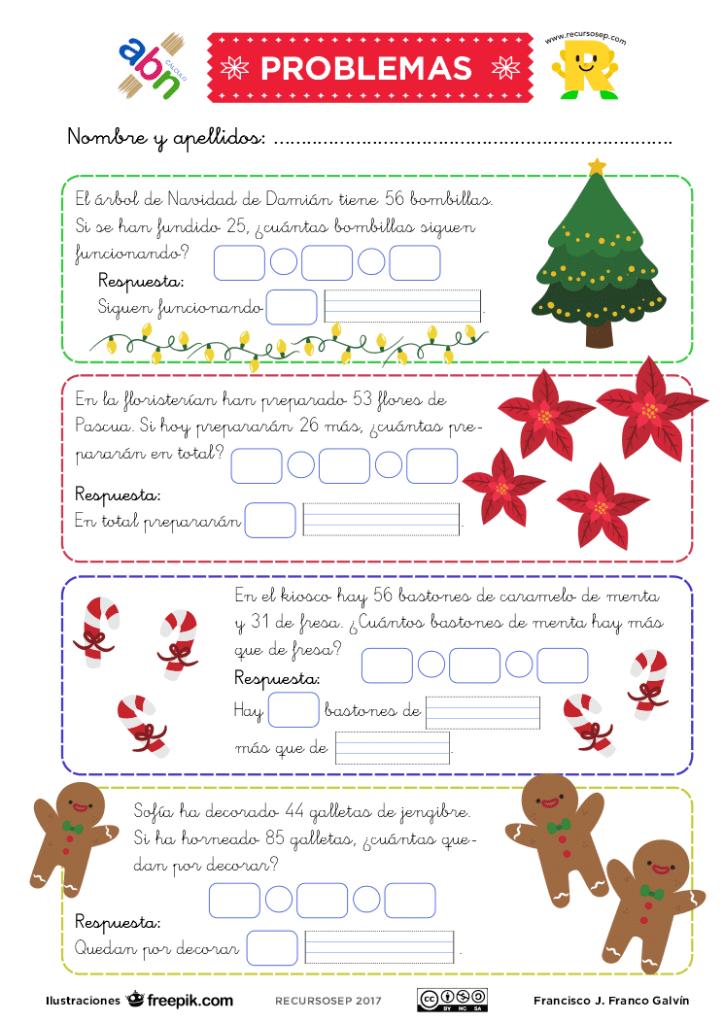 Problemas navideños de sumar y restar (Primer ciclo de Primaria)