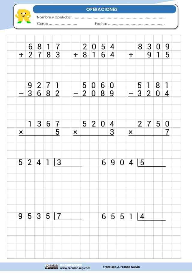 Operaciones Sumas Restas Multiplicaciones Divisiones 4 Cifras Recursosep Page 0001