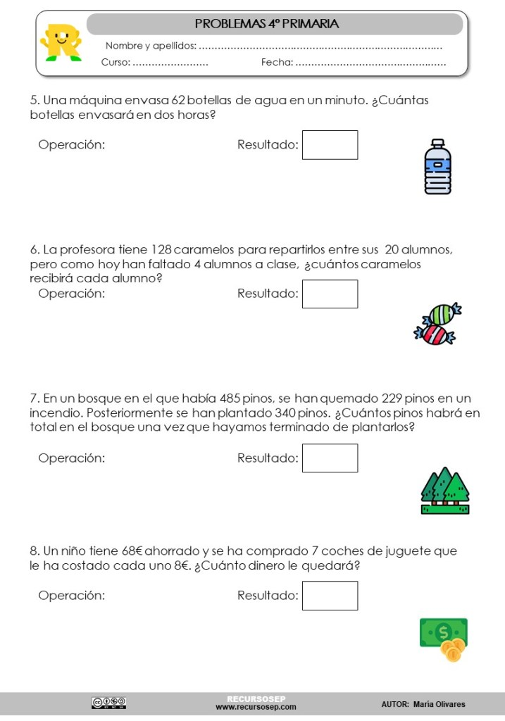 Coleccion De Problemas De 4º Primaria Sumas Restas Multiplicaciones Y Divisiones