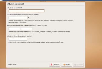 Instalacion de UBUNTU-Peticion de usuario