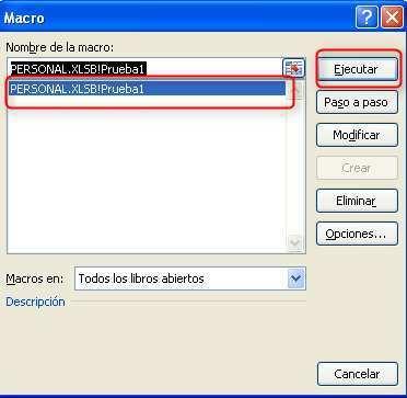 Macros Excel. Lista de macros