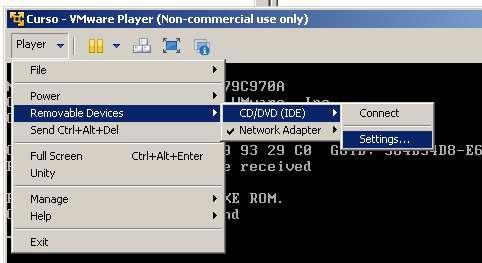 vmware player, modificar cd