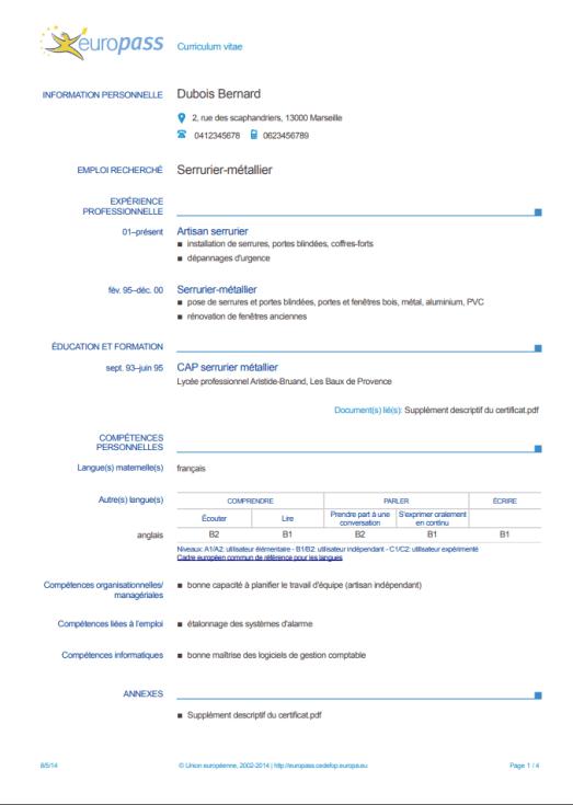 Curriculum europeo francés