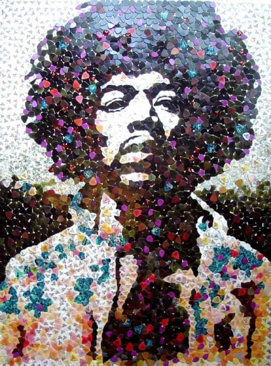 hendrix picks 01 Hendrix portrait with 5000 guitar picks
