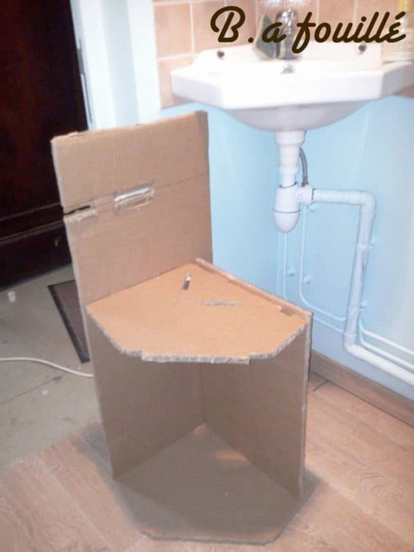 Upcycled Cardboard Around A Siphon As Bathroom Furniture Recyclart
