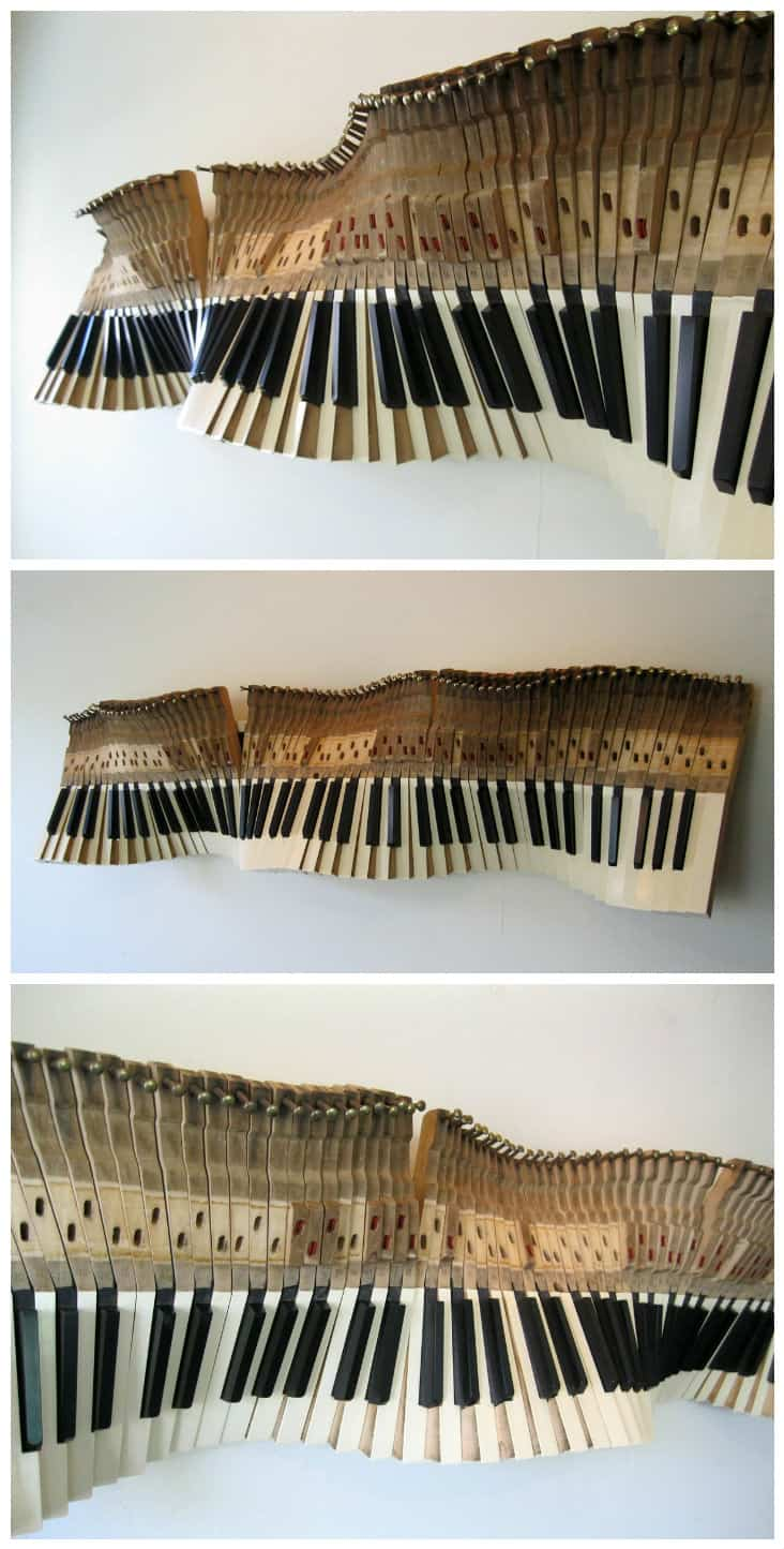 Sound Wave Sculpture From Old Piano Keys Recyclart