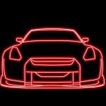 Digital Illustration Car Outline Glow