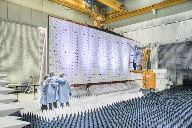 El Saocom 1B será un gemelo del 1A que se ve en esta foto. Crédito: CONAE