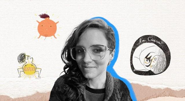 Foto en plano pecho de Mey en el centro, rodeada de ilustraciones suyas.