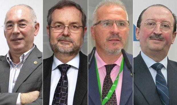 Francisco Miralles, presidente del CESM; Andres Cánovas, secretario general de Cemsatse; F. Javier Martínez, de CSIF; y Alejandro Braña, presidente del Colegio Médico de Asturias