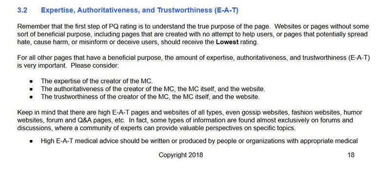 Un extrait du guide de Google insistant sur l'expertise de l'auteur
