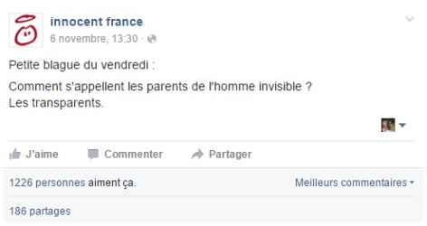 Innocent France post FB humour