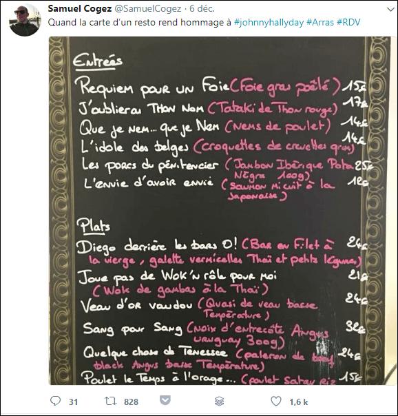 RDV tweet samuel cogez hommage johnny