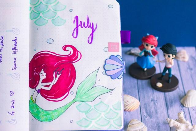 Bullet journal juillet 2019 la petite sirène Disney The Little Mermaid Ariel