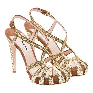 Miu Miu sandali glitter oro listini
