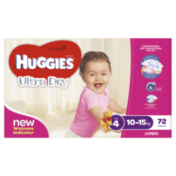 Huggies Ultra Dry Nappies Girl 10-15kg Toddler - 72ea