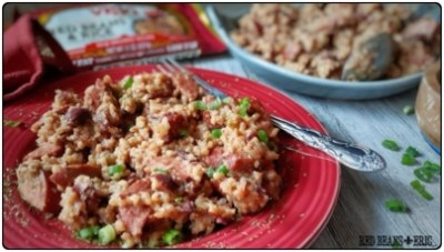 Plate of Vigo Authentic Red Beans & Rice Casserole Recipe from RedBeansAndEric.com