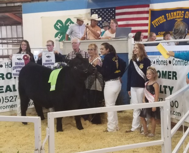 DN file photoBurt and Joyce Bundy, center, pose for a picture after purchasing the grand champion market steer at the 2017 Tehama District Junior Livestock Auction.