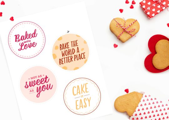 Photo of printable treat tags on table with baking supplies