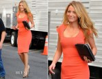On The Set Of Gossip Girl With Blake Lively In Roland Mouret