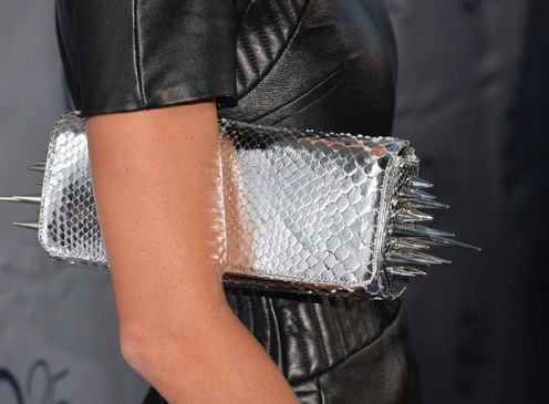 Angie Harmon's Christian 'Marquise' spiked python clutch