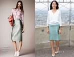 Freida Pinto In Burberry Prorsum - The Empire State Building Honouring 'International Day Of The Girl'