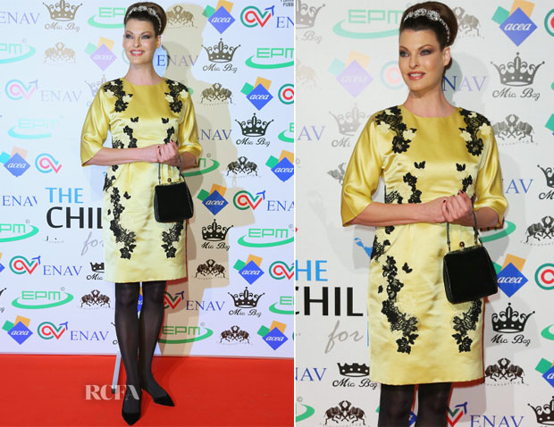 Linda Evangelista In Dolce & Gabbana - The Children For Peace Benefit Gala