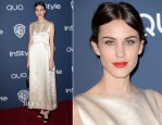 Alexa Chung In Vintage Balenciaga - InStyle and Warner Brothers Golden Globes Awards Party