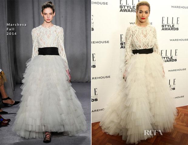 Rita Ora In Marchesa - Elle Style Awards 2014