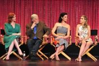 Christina Hendricks in L'Wren Scott, Jessica Pare in Roksanda Ilincic and Kiernan Shipka in Dolce & Gabbana