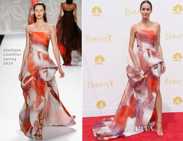 Louise Roe in Monique Lhuillier - 2014 Emmy Awards