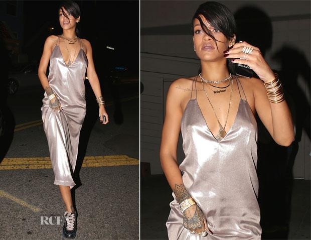 Rihanna In Nasty Gal - Giorgio Baldi Restaurant