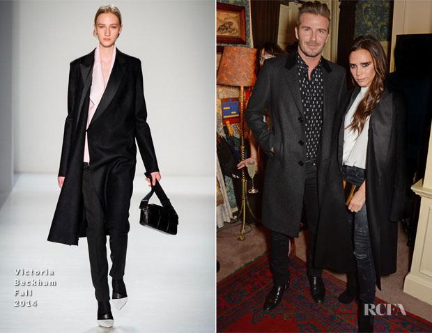 David Beckham In Saint Laurent & Victoria Beckham In Victoria Beckham - Another Man Magazine Party