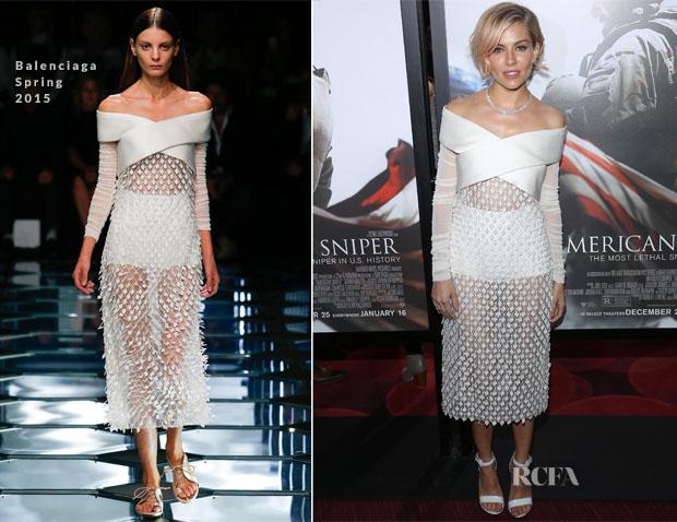 Sienna Miller In Balenciaga - 'American Sniper' New York Premiere