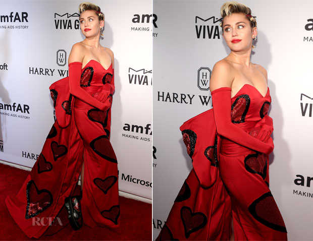 Miley Cyrus In Moschino - New York 2015 amfAR Inspiration Gala