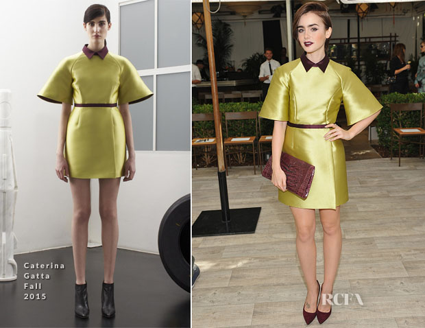 Lily Collins In Caterina Gatta - CFDAVogue Fashion Fund Show
