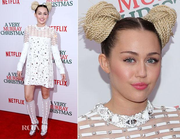 Miley Cyrus In Prada - 'A Very Murray Christmas New York Premiere