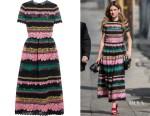 Kelly Oxford's Valentino paneled appliquéd cotton-blend lace midi dress