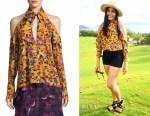 Freida Pinto's Tanya Taylor Adrienne kimono floral silk top